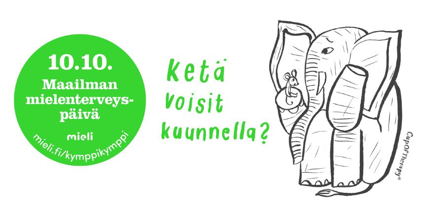 Kuvassa on kuunteleva norsu ja teksti Ketä voisit kuunnella.