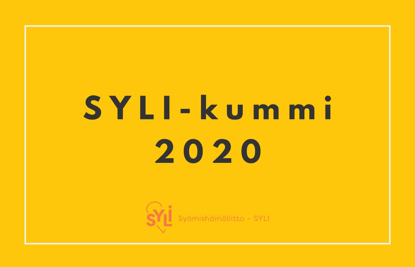SYLI-kummi 2020 - teksti keltaisella taustalla