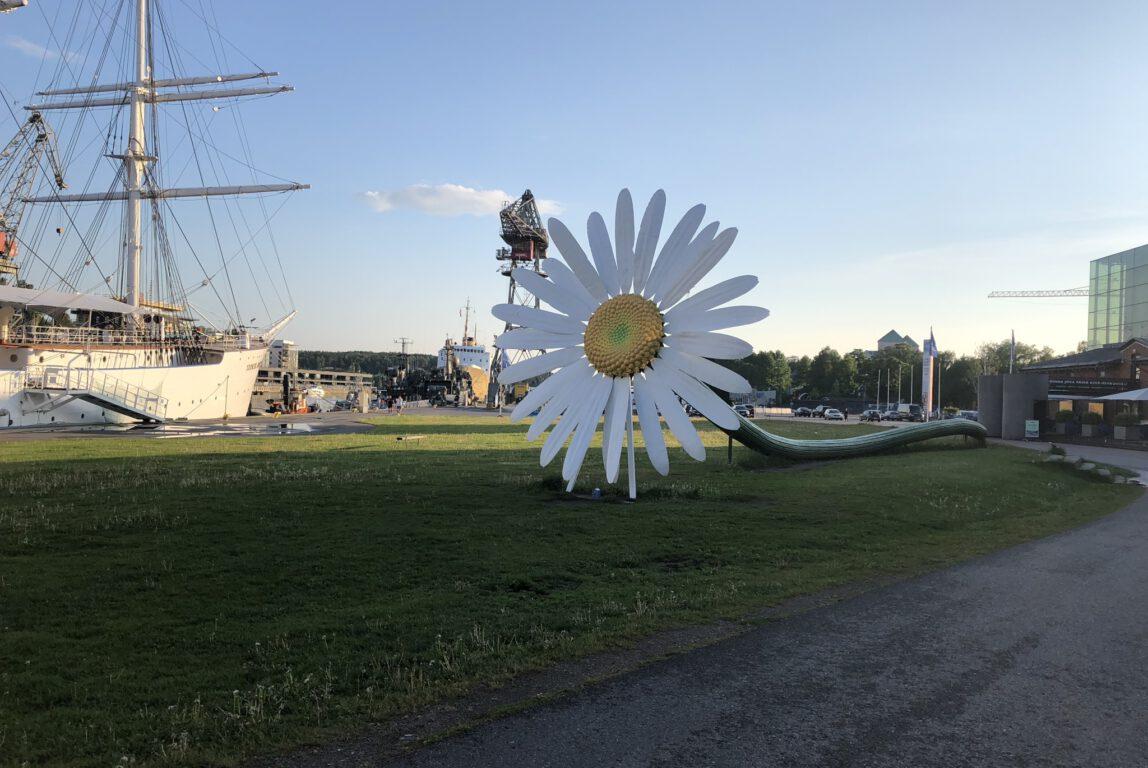 Kuvassa iso auringonkukka kesäisessä maisemassa.
