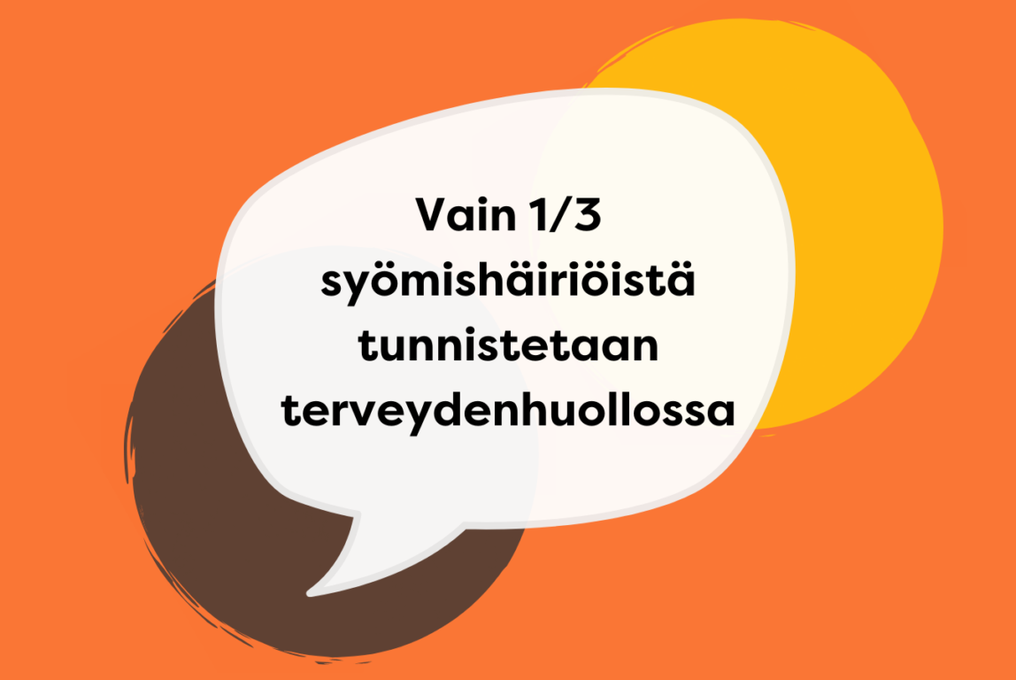 Kuvassa oranssilla taustalla harmaa ja keltainen pallo sekä puhekupla, jossa tekstiä.